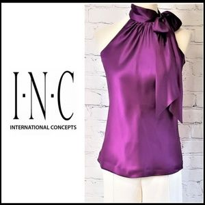 INC 100%Silk Neck Tie Sleeveless Blouse, Women's 8
